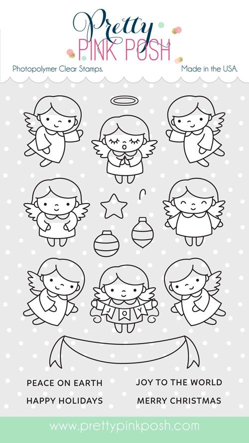 Pretty Pink Posh ANGEL FRIENDS Clear Stamp Set zoom image