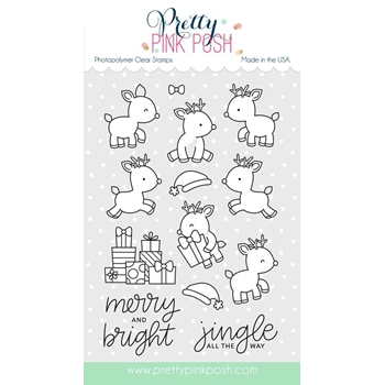 Pretty Pink Posh REINDEER FRIENDS Clear Stamp Set
