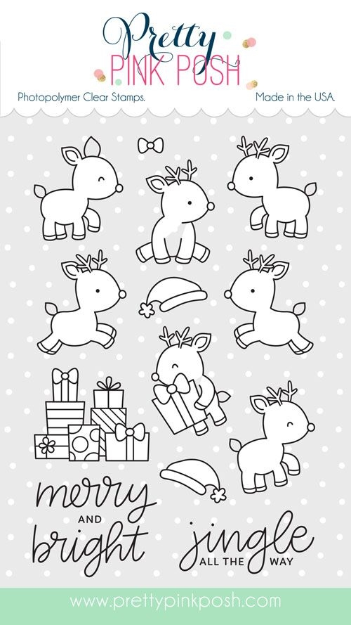 Pretty Pink Posh REINDEER FRIENDS Clear Stamp Set zoom image