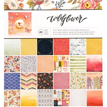 American Crafts WILDFLOWER 12x12 Inch Paper Pad 341850