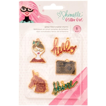 American Crafts Shimelle GLITTER FILLED ENAMEL CHARMS Glitter Girl 343669