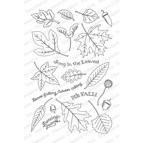 Pink Ink For Impression Obsession Clear Stamp FALLING LEAVES CL785 Preview Image
