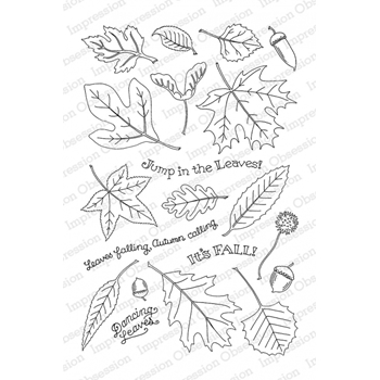 Pink Ink For Impression Obsession Clear Stamp FALLING LEAVES CL785