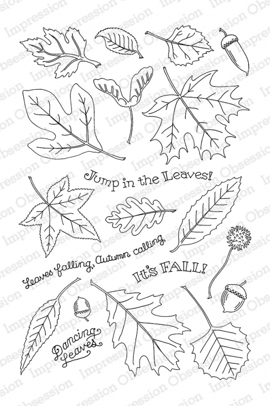 Pink Ink For Impression Obsession Clear Stamp FALLING LEAVES CL785 zoom image