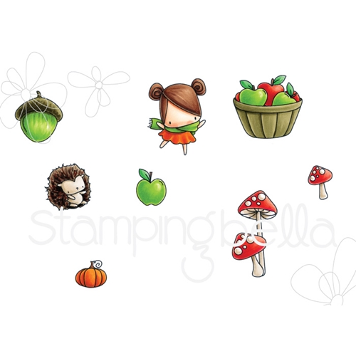 Stamping Bella Cling Stamp LITTLE BITS FALL FRUIT Rubber UM EB545 Preview Image