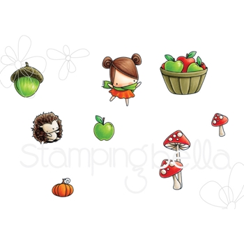 Stamping Bella Cling Stamp LITTLE BITS FALL FRUIT Rubber UM EB545