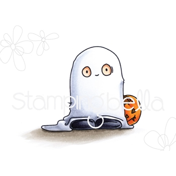 Stamping Bella Cling Stamp GHOST TRICK OR TREATER SQUIDGY Rubber UM EB557