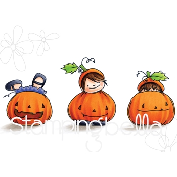 Stamping Bella Cling Stamp PUMPKIN TRIO SQUIDGY Rubber UM EB559