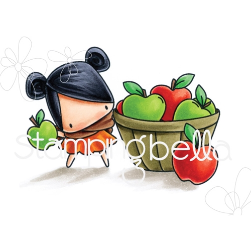 Stamping Bella Cling Stamp THE LITTLES APPLE PICKING Rubber UM EB543 Preview Image