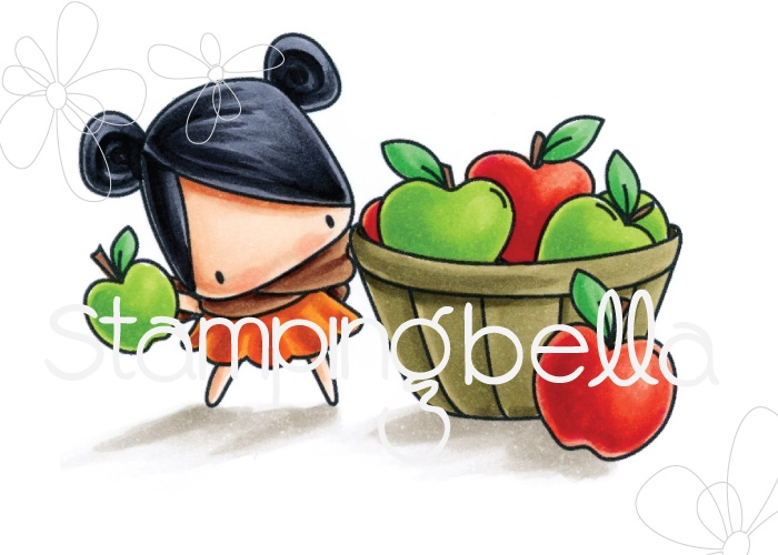 Stamping Bella Cling Stamp THE LITTLES APPLE PICKING Rubber UM EB543 zoom image