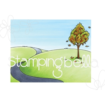 Stamping Bella Cling Stamp FALL BACKDROP Rubber UM EB536