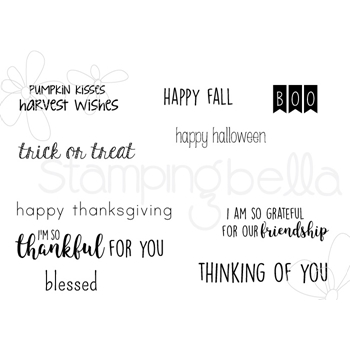 Stamping Bella Cling Stamp FALL SENTIMENT Rubber UM EB537