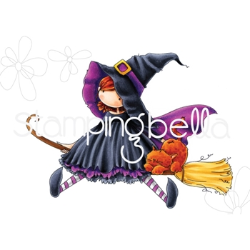 Stamping Bella Cling Stamp TINY TOWNIE HATTIE LOVES HALLOWEEN Rubber UM EB538