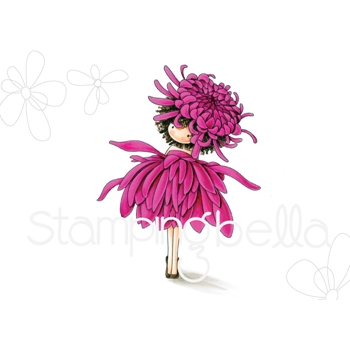 Stamping Bella Cling Stamp TINY TOWNIE GARDEN GIRL CHRYSANTHEMUM Rubber UM EB561