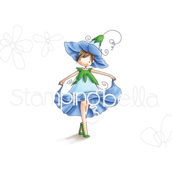 Stamping Bella Cling Stamp TINY TOWNIE GARDEN GIRL MORNING GLORY Rubber UM EB560