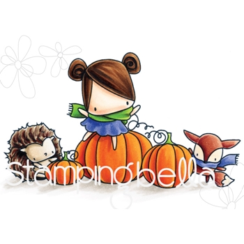Stamping Bella Cling Stamp THE LITTLES PUMPKIN FRIENDS Rubber UM EB542
