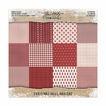 Tim Holtz Idea-ology 8 x 8 Paper Stash KRAFT CHRISTMAS Paperie TH93626