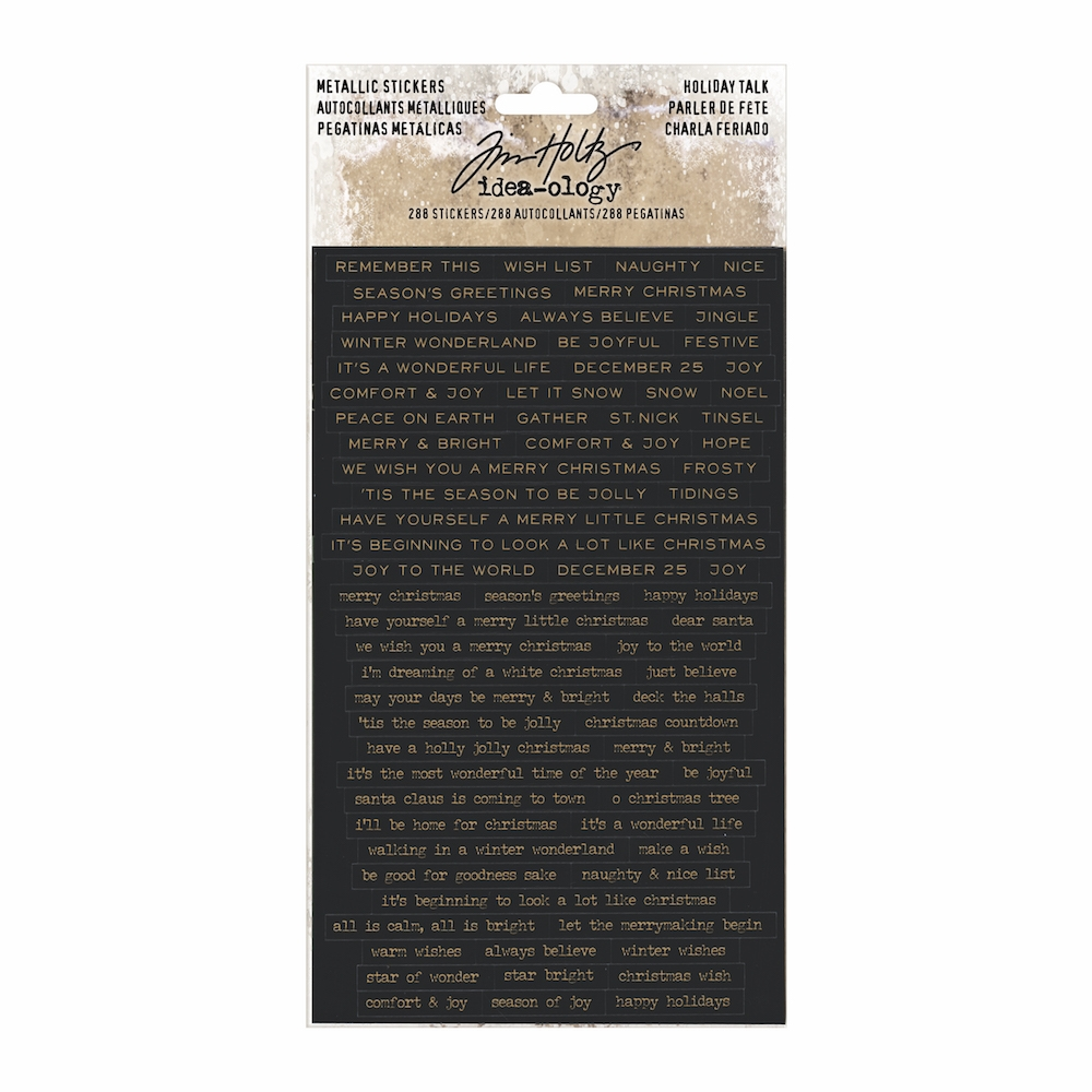 Tim Holtz Idea-ology METALLIC HOLIDAY TALK Stickers TH93642 zoom image