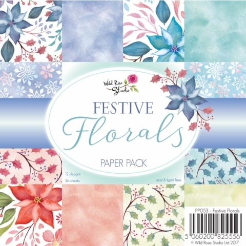 Wild Rose Studio FESTIVE FLORALS 6 X 6 Paper Pack PP053 Preview Image