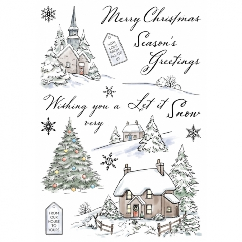 Wild Rose Studio Winter Cottages Clear Stamp Set