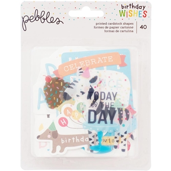 Pebbles Inc. HAPPY HOORAY Ephemera Printed Cardstock Shapes 732619