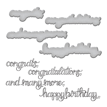 SDS-106 Spellbinders SENTIMENTS 1 Cling Stamp & Die Set Happy Grams 4 Collection by Tammy Tutterow