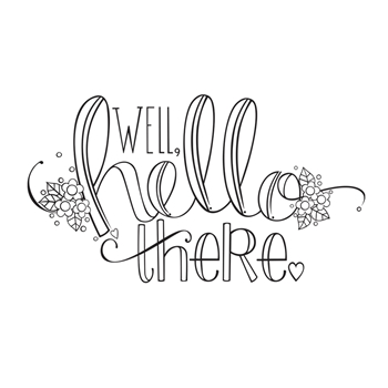 SBS-155 Spellbinders HELLO THERE Cling Stamp Set Happy Grams 4 Collection by Tammy Tutterow