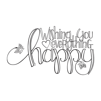 SBS-154 Spellbinders EVERYTHING HAPPY Cling Stamp Set Happy Grams 4 Collection by Tammy Tutterow