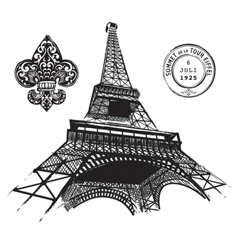 SBS-151 Spellbinders PARIS COLLAGE Cling Stamps Stamp Set by Stacey Caron