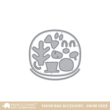 Mama Elephant FAVOR BAG ACCESSORY SNOW DEER Creative Cuts Steel Die Set