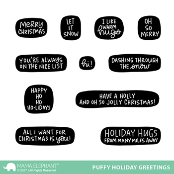 Mama Elephant Clear Stamps PUFFY HOLIDAY GREETINGS