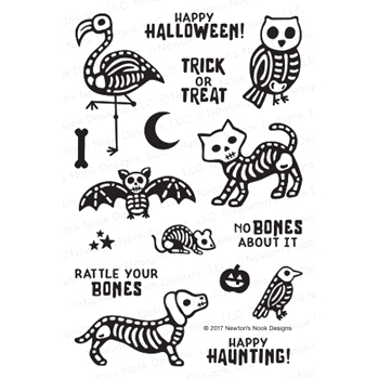 Newton's Nook Designs SPOOKY SKELETONS Clear Stamp Set NN1709S05