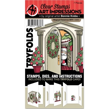 Art Impressions MAGICAL CHRISTMAS Mini TryFolds Clear Stamps and Dies 4930