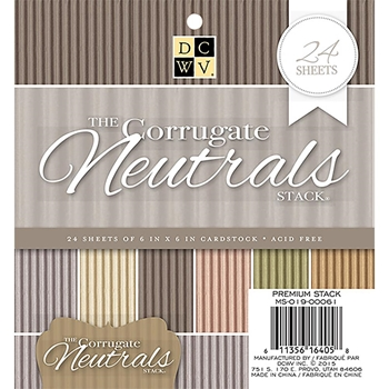 DCWV 6 x 6 THE CORRUGATE NEUTRALS Cardstock Stack MS-019-00061