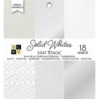 DCWV 6 x 6 SOLID WHITES Glitter And Foil Stack PS-006-00143