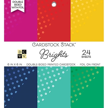DCWV 6 x 6 BRIGHTS WITH FOIL Cardstock Stack PS-006-00102