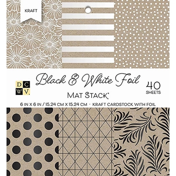 DCWV 6 x 6 BLACK & WHITE FOIL Cardstock Stack PS-006-00128