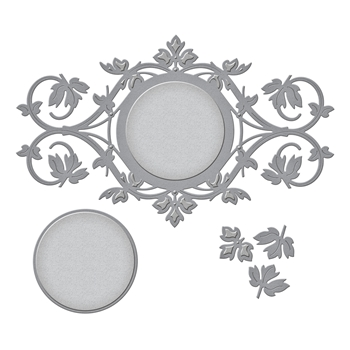 S4-799 Spellbinders ROUND LEAF LABEL Etched Dies by Stacy Caron