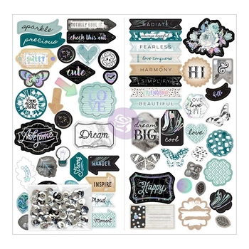 Prima Marketing ZELLA TEAL Chipboard Stickers 595517