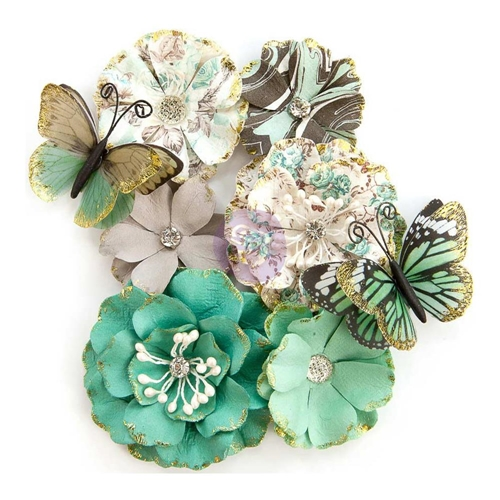 Prima Marketing BUTTERFLY KISSES Zella Teal Flowers 597153 Preview Image