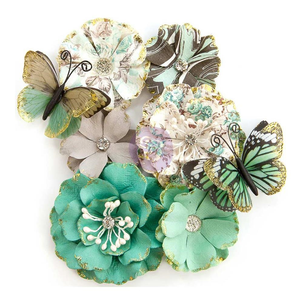 Prima Marketing BUTTERFLY KISSES Zella Teal Flowers 597153 zoom image