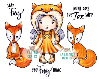 La-La Land Crafts Cling Stamp STAY FOXY Set 3018