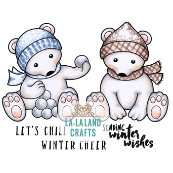 La-La Land Crafts Cling Stamp POLAR BEARS 3017