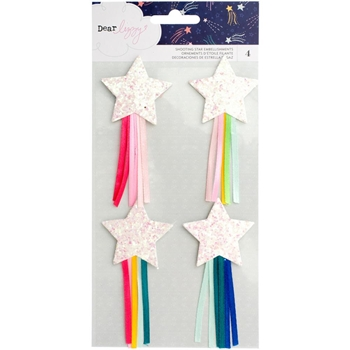 American Crafts Dear Lizzy SHOOTING GLITTERED STARS WITH RIBBON Star Gazer 343437