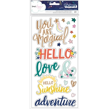 American Crafts Dear Lizzy MAGICAL Copper Foil Accented Chipboard Stickers Star Gazer 343428