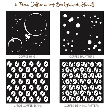 Honey Bee COFFEE LOVERS BACKGROUND Stencils Set of 4 HBSL-06