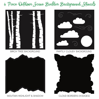 Honey Bee OUTDOOR SCENE BUILDER Stencils Set of 4 HBSL-08