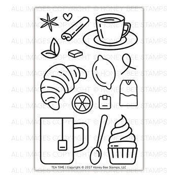 Honey Bee TEA TIME Clear Stamp Set HBST-82