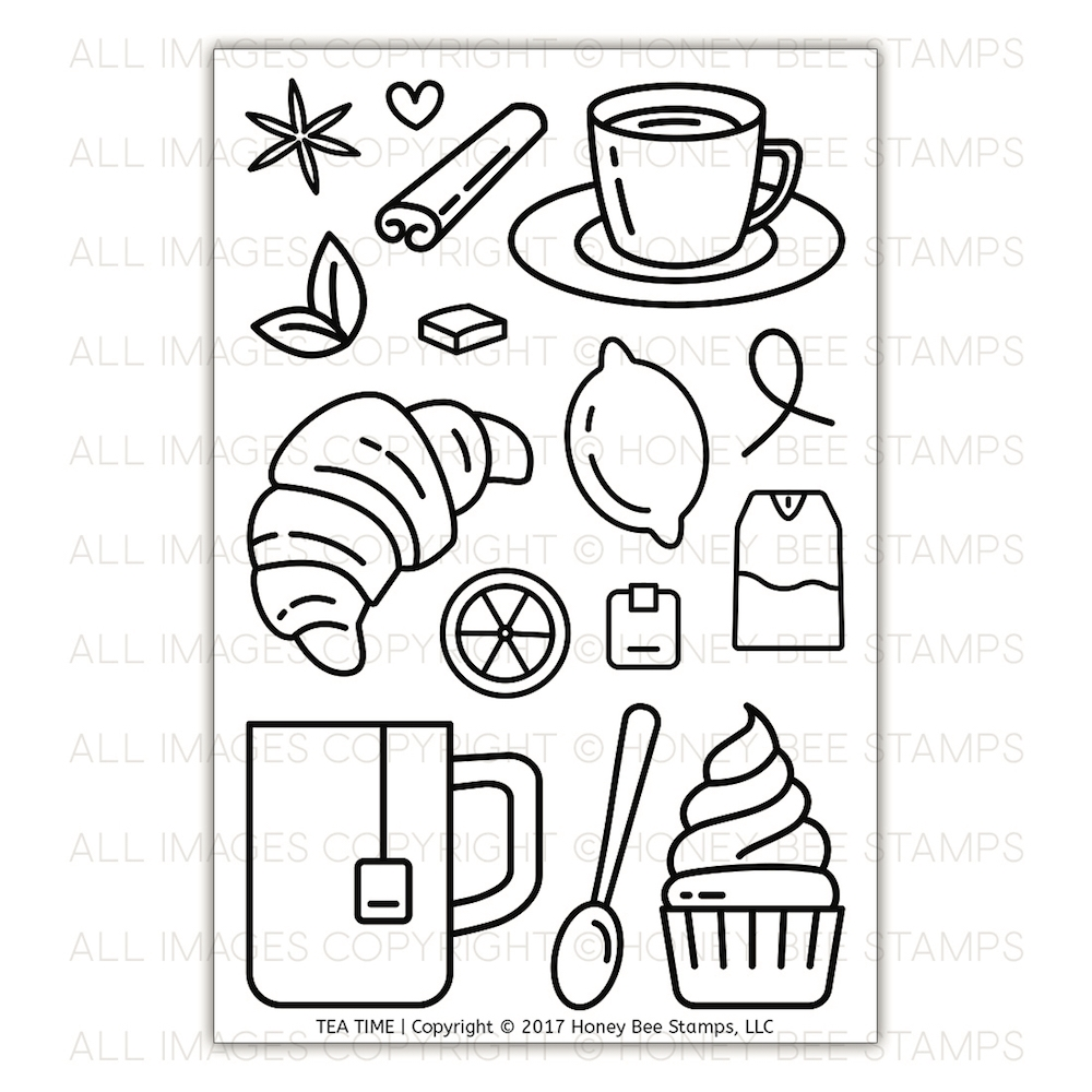 Honey Bee TEA TIME Clear Stamp Set HBST-82 zoom image