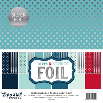 Echo Park SILVER WINTER FOIL DOTS AND STRIPES 12 x 12 Collection Kit DSF17077